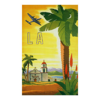 Vintage Travel Poster, Los Angeles, California Poster