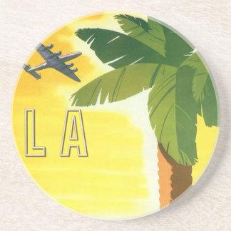 Vintage Travel Poster, Los Angeles, California Sandstone Coaster