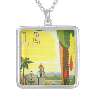 Vintage Travel Poster, Los Angeles, California Silver Plated Necklace