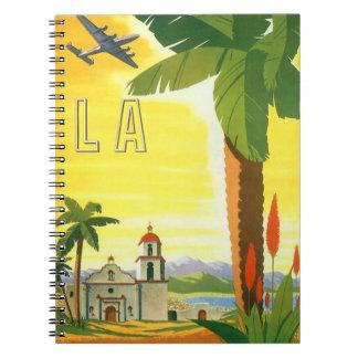 Vintage Travel Poster, Los Angeles, California Spiral Notebook