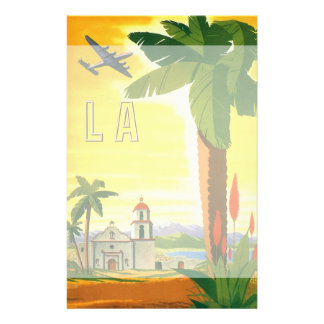 Vintage Travel Poster, Los Angeles, California Stationery
