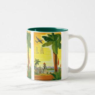 Vintage Travel Poster, Los Angeles, California Two-Tone Coffee Mug