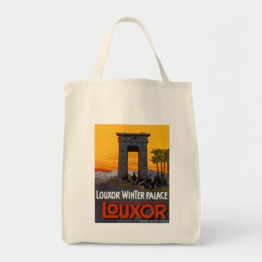 Vintage Travel Poster, Louxor Winter Palace, Egypt Grocery Tote Bag
