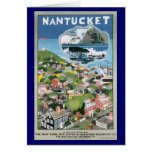 Vintage Travel Poster, Map of Nantucket Island Stationery Note Card