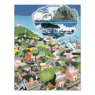 Vintage Travel Poster, Map of Nantucket Island 4.25x5.5 Paper Invitation Card