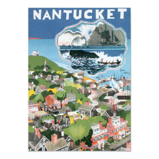 Vintage Travel Poster, Map of Nantucket Island 5x7 Paper Invitation Card