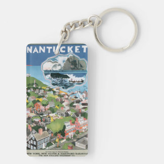 Vintage Travel Poster, Map of Nantucket Island Acrylic Key Chain