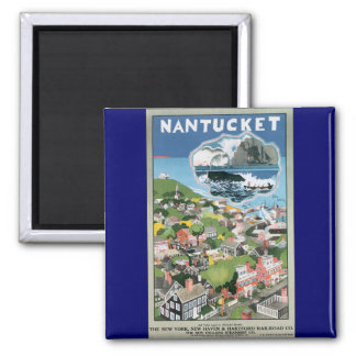 Vintage Travel Poster, Map of Nantucket Island, MA 2 Inch Square Magnet