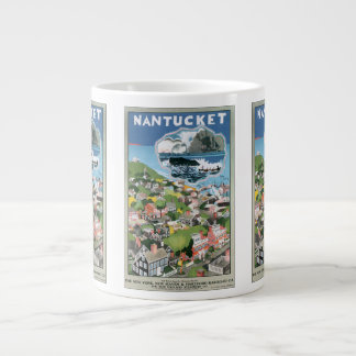 Vintage Travel Poster, Map of Nantucket Island, MA Giant Coffee Mug
