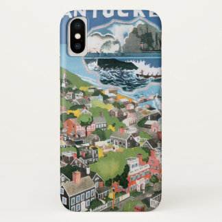 Vintage Travel Poster, Map of Nantucket Island, MA iPhone X Case