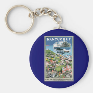 Vintage Travel Poster, Map of Nantucket Island, MA Keychain