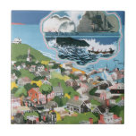 Vintage Travel Poster, Map of Nantucket Island, MA Small Square Tile