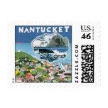 Vintage Travel Poster, Map of Nantucket Island Stamp