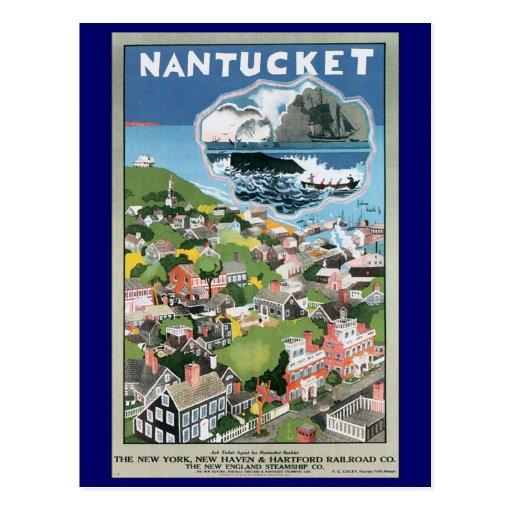 Vintage Travel Poster, Map of Nantucket Island Postcards