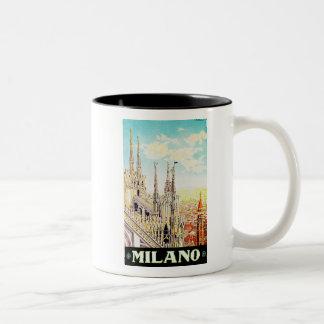 Vintage Travel Poster Milano, Italy Two-Tone Coffee Mug