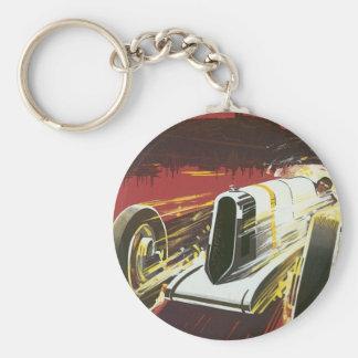 Vintage Travel Poster, Monaco Grand Prix Auto Race Basic Round Button Keychain