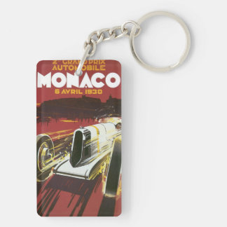 Vintage Travel Poster, Monaco Grand Prix Auto Race Double-Sided Rectangular Acrylic Keychain