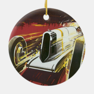 Vintage Travel Poster, Monaco Grand Prix Auto Race Double-Sided Ceramic Round Christmas Ornament