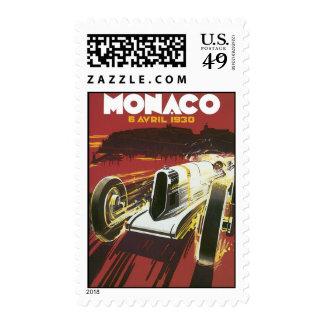 Vintage Travel Poster, Monaco Grand Prix Auto Race Postage