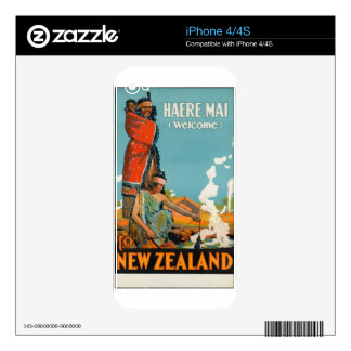 Vintage Travel Poster New Zealand Decal For The iPhone 4