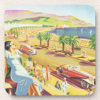 Vintage Travel Poster, Nice, France French Riviera Beverage Coaster