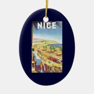 Vintage Travel Poster, Nice, France French Riviera Double-Sided Oval Ceramic Christmas Ornament