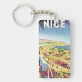 Vintage Travel Poster, Nice, France French Riviera Keychain
