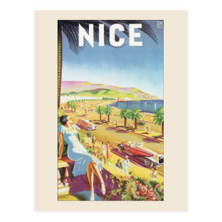Vintage Travel Poster, Nice, France French Riviera Postcard