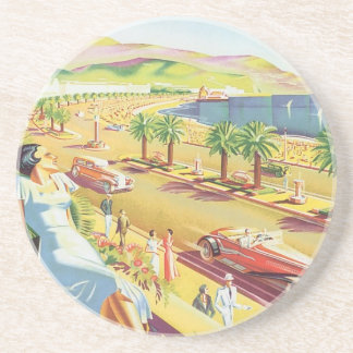 Vintage Travel Poster, Nice, France French Riviera Sandstone Coaster