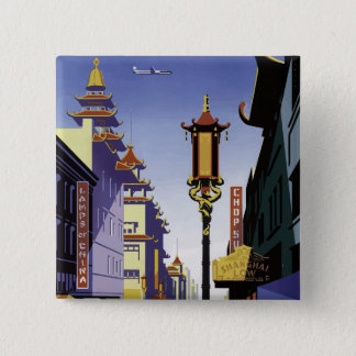 Vintage Travel Poster of San Francisco Chinatown Pinback Button