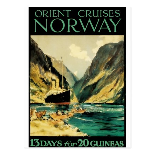 Vintage Travel Poster: Orient Cruises - Norway Post Card