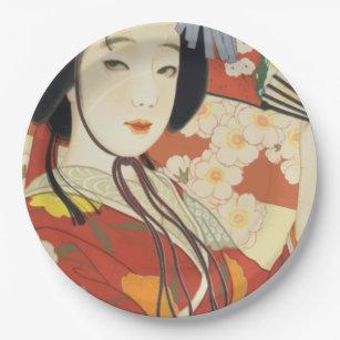 Vintage Travel Poster Osaka Japan Paper Plate  sc 1 st  Zazzle & Japanese Woman Plates | Zazzle