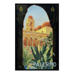 Vintage Travel Poster, Palermo, Sicily, Italy