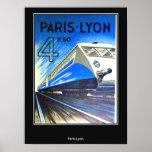 Vintage Travel Poster Paris-Lyon France Print