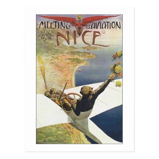 Vintage Travel Poster, Pilot Airplane Nice France Post Cards
