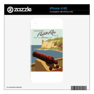 Vintage Travel Poster Puerto Rico Skin For iPhone 4S