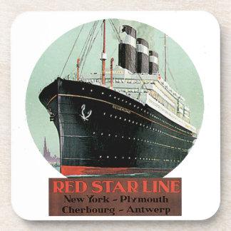 Vintage Travel Poster - Red Star Line Beverage Coaster