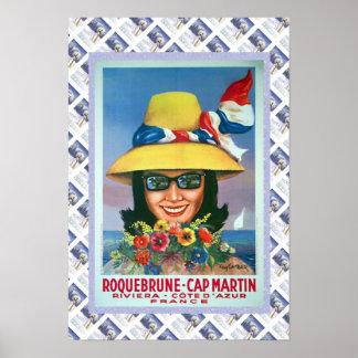 Vintage travel poster,Roquebrune, Cap Martin Poster