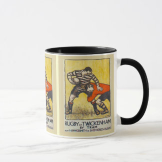 Vintage travel poster, Rugby at Twickenham by tram Mug