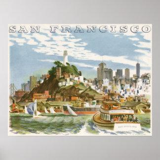Vintage Travel Poster San Francisco Bay Ferry Boat