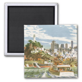 Vintage Travel Poster San Francisco Bay Ferry Boat 2 Inch Square Magnet