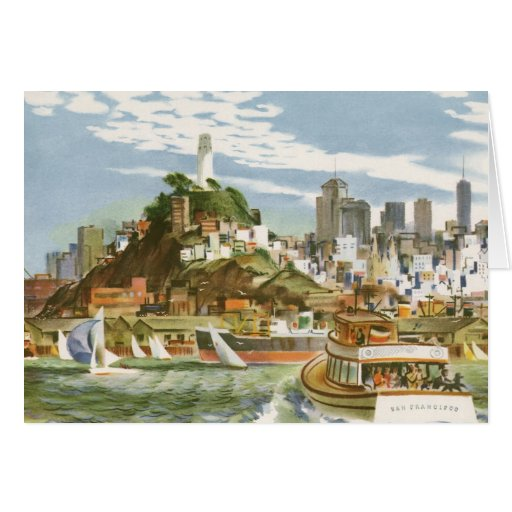 Vintage Travel Poster San Francisco Bay Ferry Boat Greeting Cards