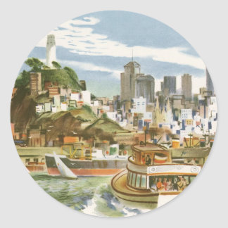 Vintage Travel Poster San Francisco Bay Ferry Boat Classic Round Sticker