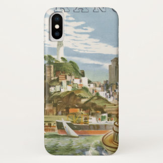 Vintage Travel Poster San Francisco Bay Ferry Boat iPhone X Case