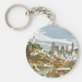 Vintage Travel Poster San Francisco Bay Ferry Boat Keychain