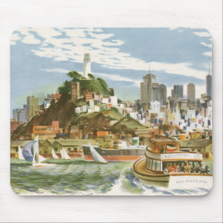 Vintage Travel Poster San Francisco Bay Ferry Boat Mouse Pad