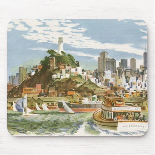 Vintage Travel Poster San Francisco Bay Ferry Boat Mousepads