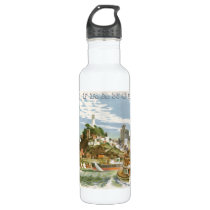 Vintage Travel Poster San Francisco Bay Ferry Boat Stainless Steel Water Bottle