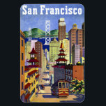 "Vintage Travel Poster San Francisco Magnet<br><div class=""desc"">Lovely travel poster art for San Francisco featuring a Cable Car,  Bay Bridge,  Chinatown.</div>"