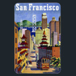 """Vintage Travel Poster San Francisco Magnet<br><div class=""""desc"""">Lovely travel poster art for San Francisco featuring a Cable Car,  Bay Bridge,  Chinatown.</div>"""